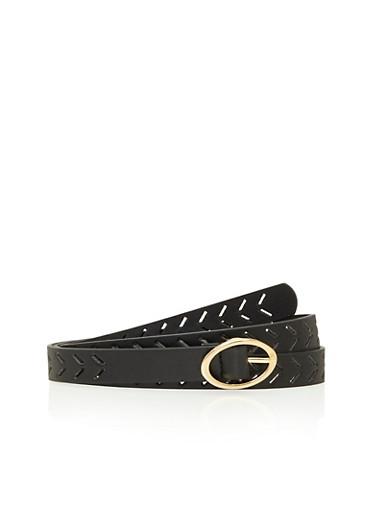 Skinny Perforated Belt,BLACK,large