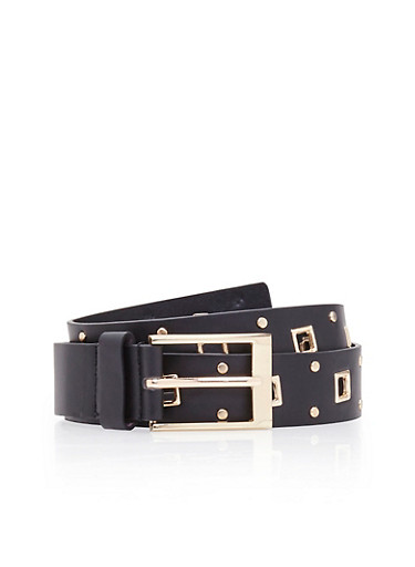 Faux Leather Belt with Square Grommets and Studs,BLACK,large