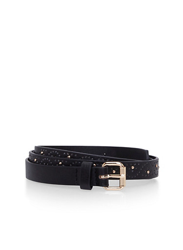 Perforated Skinny Belt with Studs,BLACK,large