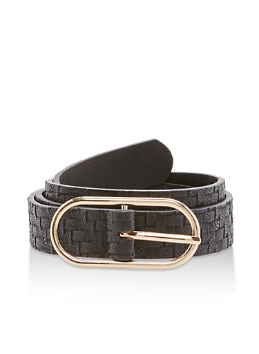 Faux Leather Thin Woven Belt,BLACK/GOLD,large