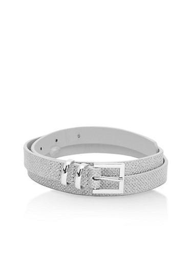 Skinny Glitter Belt,SILVER,large