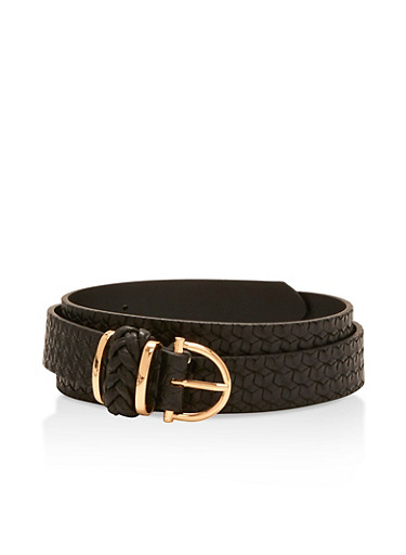 Braided Faux Leather Belt,BLACK,large