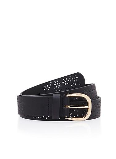 Plus Size Faux Leather Belt with Floral Lasercuts,BLACK,large