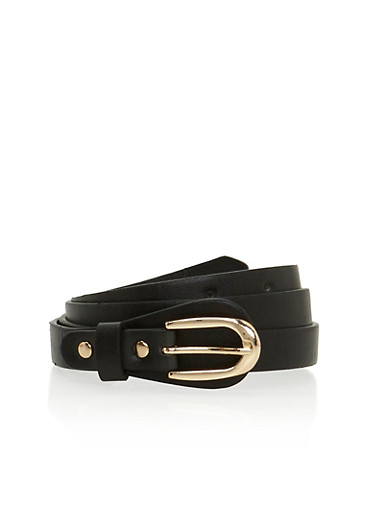 Skinny Faux Leather Belt,BLACK,large