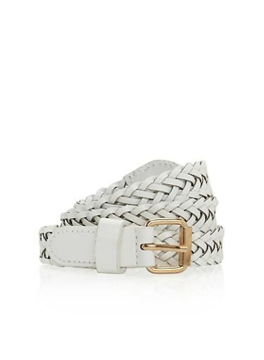 Faux Leather Braided Belt,WHITE,large