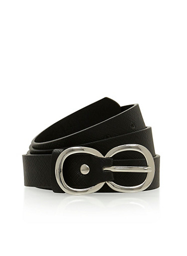 Faux Leather Infinity Buckle Belt,BLACK,large