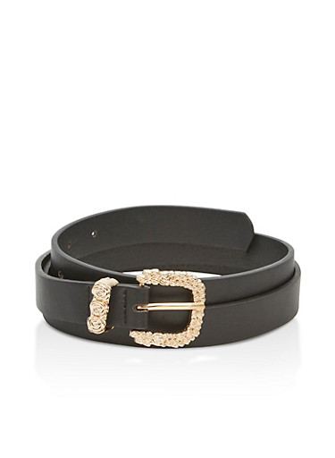 Faux Leather Belt with Floral Buckle Accents,BLACK/GOLD,large