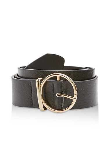 Plus Size Faux Leather Loop Belt,BLACK,large
