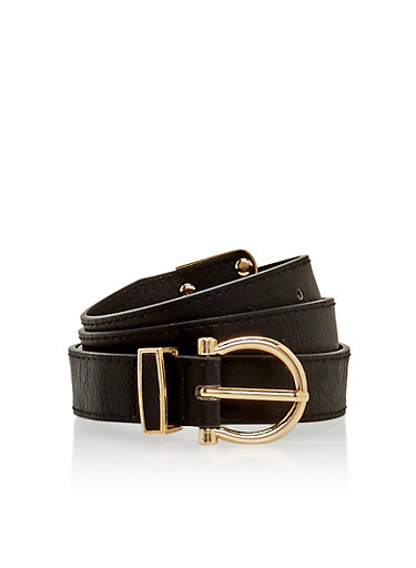 Faux Leather Skinny Belt with Cutout Loop,BLACK,large