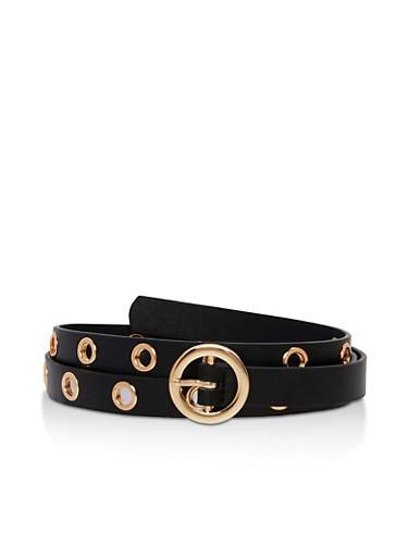 Skinny Faux Leather Grommets Belt,BLACK/ROSE,large