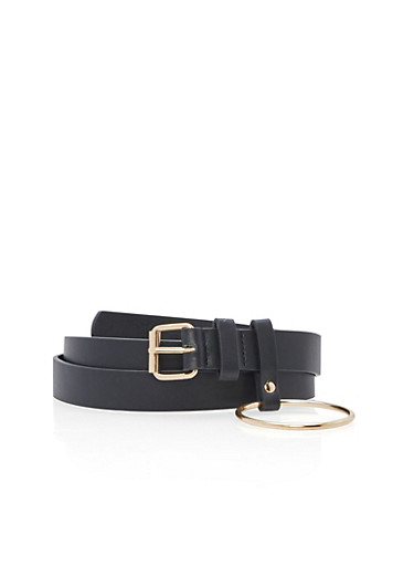 Faux Leather Belt with Metallic Ring Detail,BLACK/GOLD,large