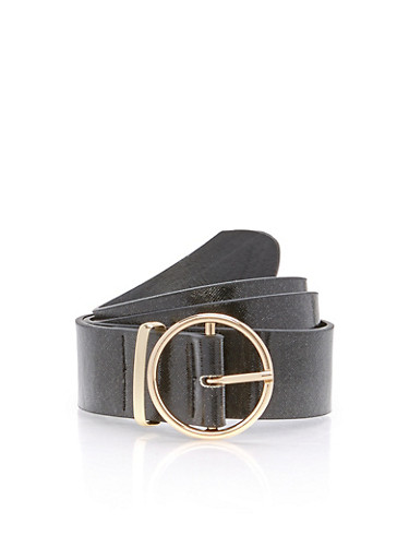 Faux Leather Loop Belt,BLACK/GOLD,large
