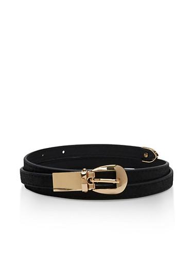 Skinny Faux Leather Metallic Belt,BLACK,large