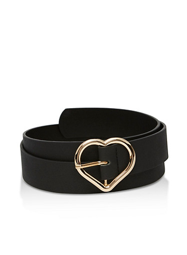 Faux Leather Shimmer Belt with Heart Buckle,BLACK,large