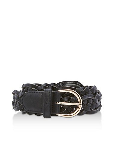 Woven Faux Leather Belt,BLACK,large