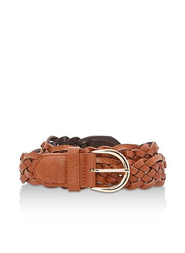 Woven Faux Leather Belt,COGNAC,large