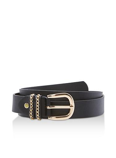 Chain Detail Faux Leather Belt,BLACK/GOLD,large