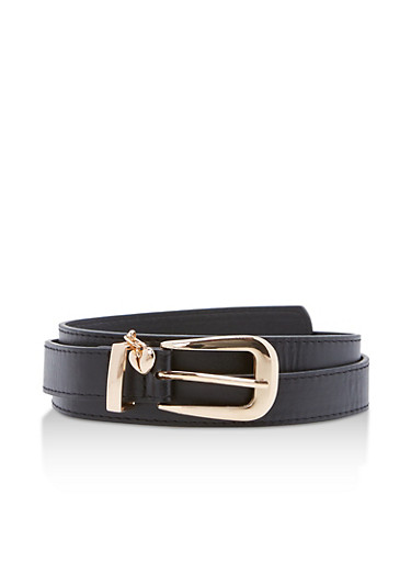 Heart Charm Faux Leather Belt,BLACK,large