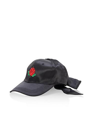 Rose Embroidered Satin Bow Baseball Hat,BLACK,large