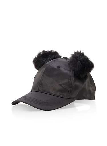 Satin Pom Pom Baseball Hat,BLACK,large