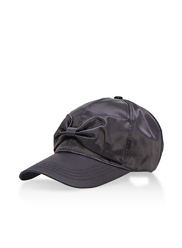 Satin Bow Baseball Hat,BLACK,large