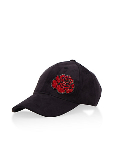 Faux Suede Rhinestone Flower Baseball Cap,BLACK,large