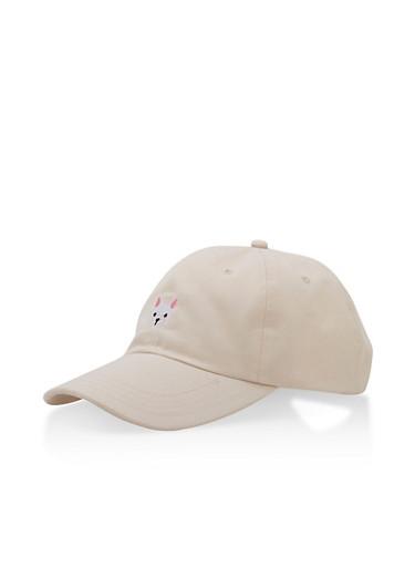 Stitched Dog Baseball Cap,NATURAL,large
