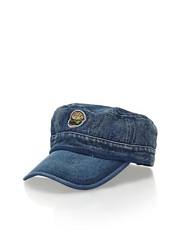 Denim Hat with Burger Patch,DENIM,large