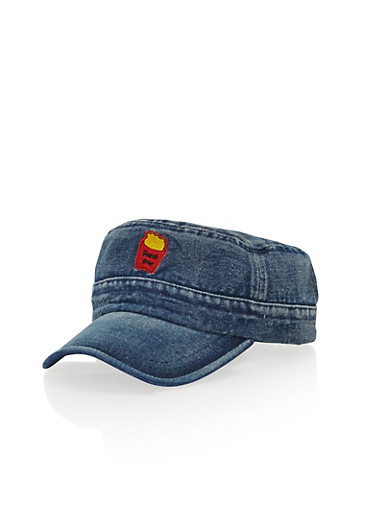 Denim Hat with French Fry Patch,DENIM,large