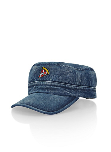 Denim Hat with Pizza Patch,DENIM,large