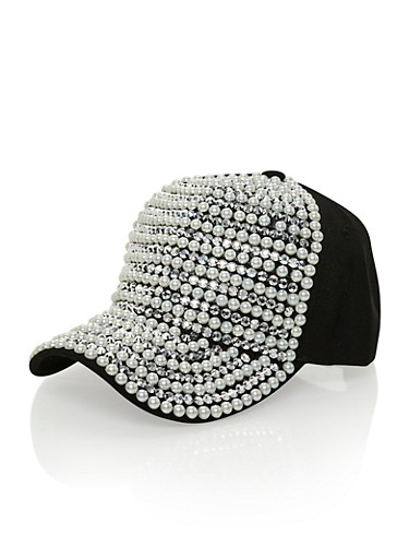 Snapback Crystal and Faux Pearl Stripes,BLACK,large