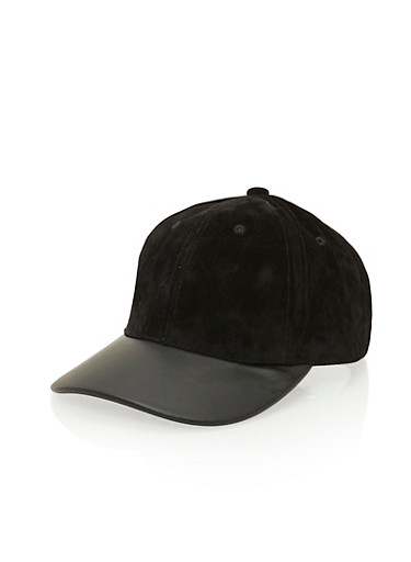 Velvet Hat with Faux Leather Brim,BLACK,large