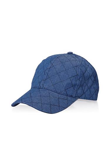 Quilted Denim Baseball Hat,WASHED DENIM,large