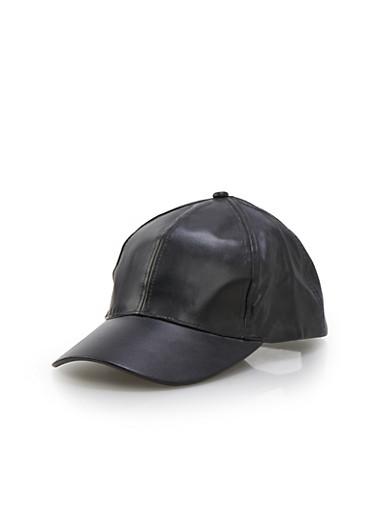 Faux Leather Cap,BLACK,large