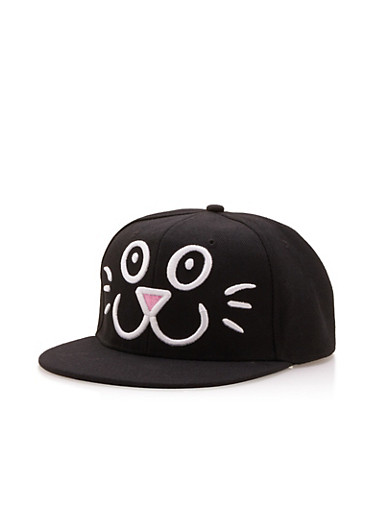 Snapback Hat with Embroidered Cat Face,BLACK/WHITE,large