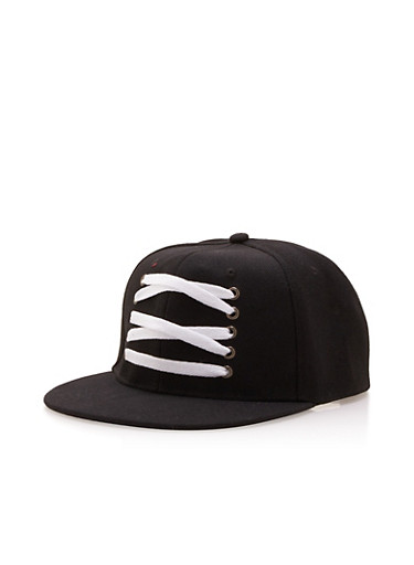 Snapback Hat with Lace-Up Detail,BLACK/WHITE,large