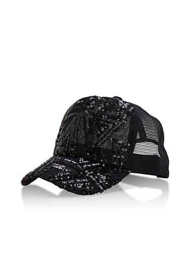 Sequined Mesh Trucker Cap,BLACK,large