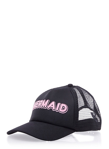 Mermaid Graphic Trucker Hat,PINK/BLACK,large