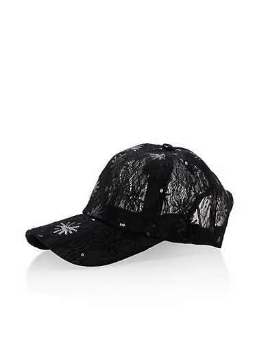 Sequined Lace Baseball Hat,BLACK,large