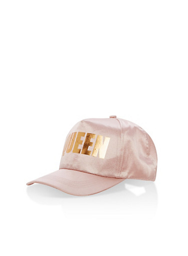 Queen Satin Baseball Hat,BLUSH,large