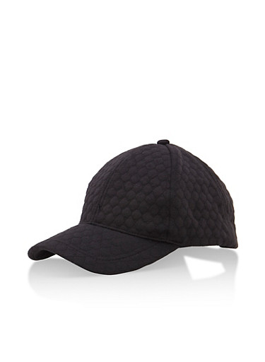 Quilted Diamond Baseball Cap,BLACK,large
