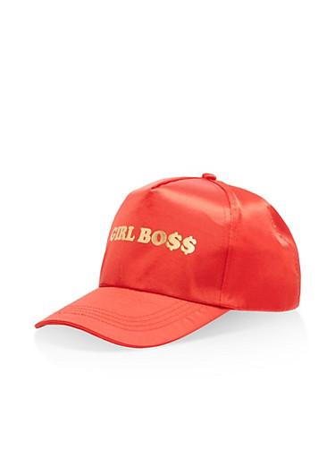 Girl Boss Satin Baseball Hat,RED,large