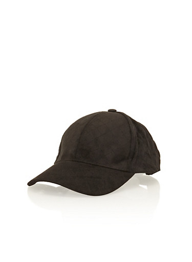 Quilted Faux Suede Snapback Hat,BLACK,large