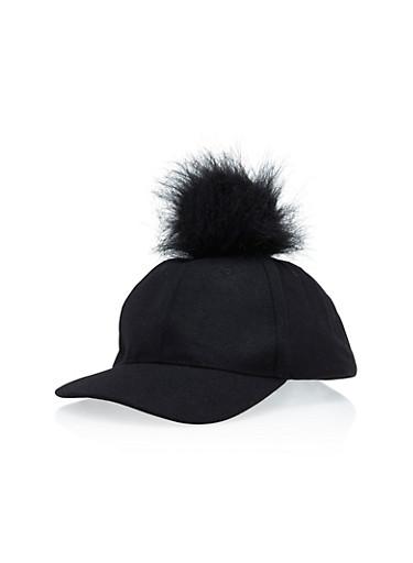 Felt Hat with Faux Fur Pom Pom,BLACK/BLACK,large