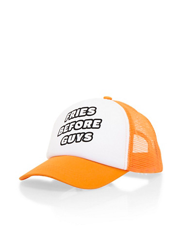 Trucker Hat with Fries Before Guys Graphic,ORANGE,large