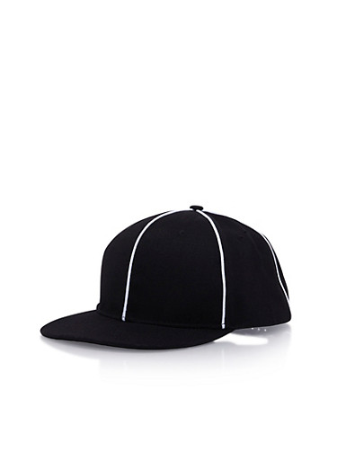 Snapback Black Hat with White Piping,BLACK/WHITE,large
