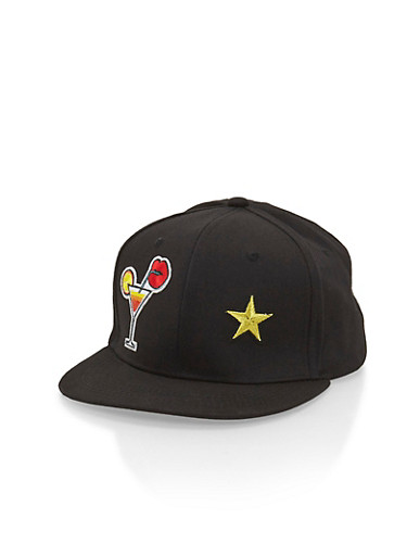Snapback Hat with Cocktail Patch,BLACK,large