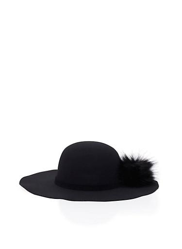 Floppy Hat with Faux Fur Pom Pom,BLACK/BLACK,large