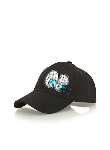 Baseball Hat with Sequined Eyes,BLACK,large