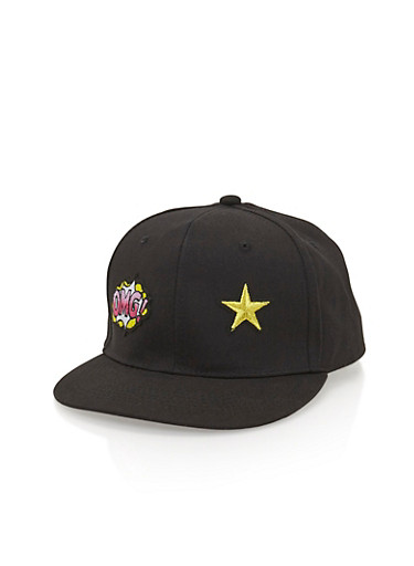 Snapback Hat with OMG Patch,BLACK,large